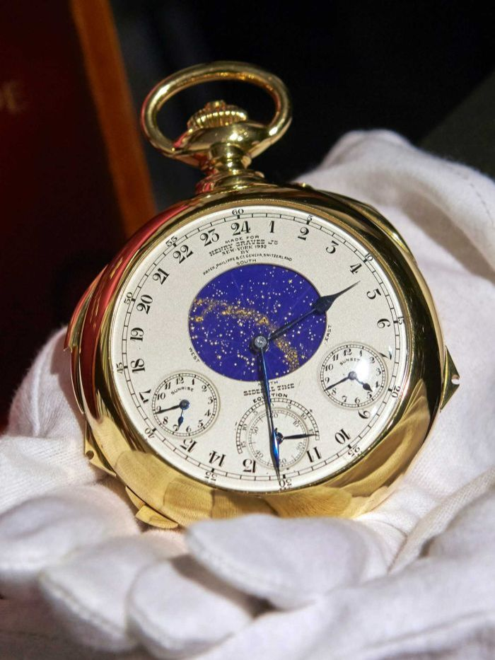 A gold pocket watch made by Patek Philippe worth $12 million dollars.