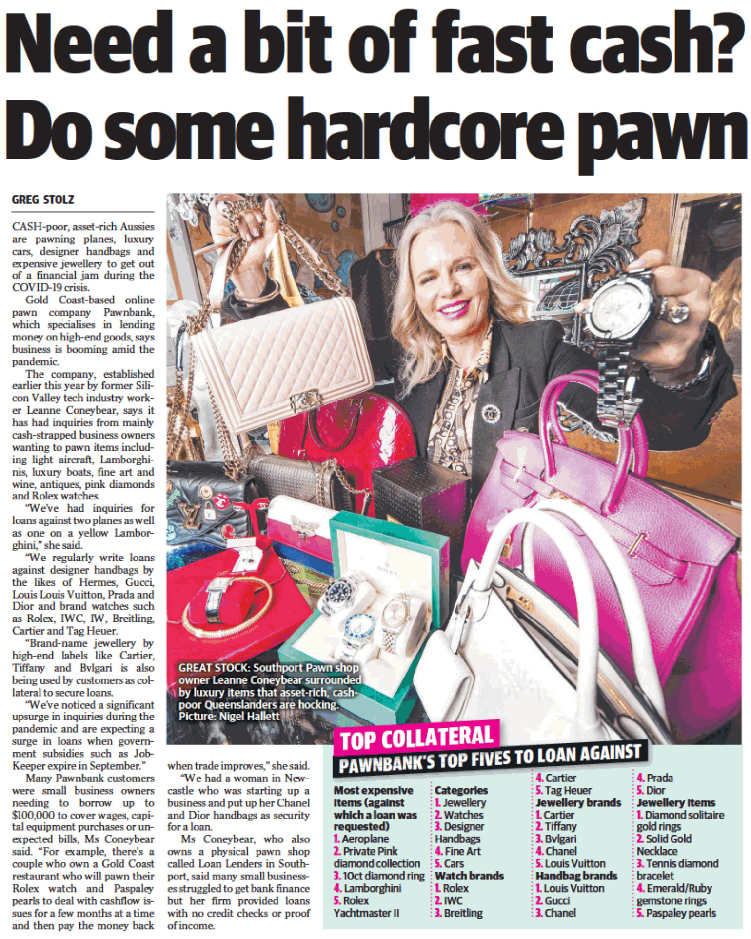 Article in the courier mail about Pledg entitled: 'Need a bit of fast cash? Do some hardcore pawn'.
