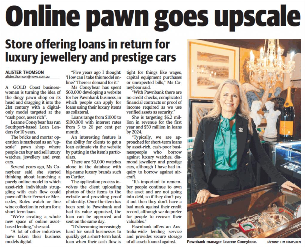 Gold Coast Bulletin Article: Online pawn goes upscale