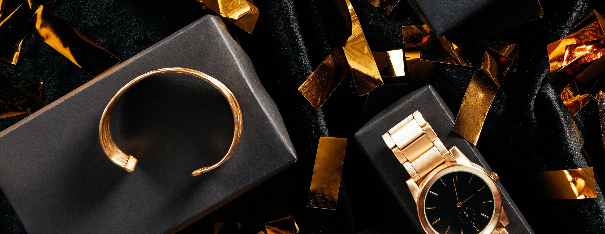 Gold watches and other expensive gold jewellery to be pawned for fast cash.