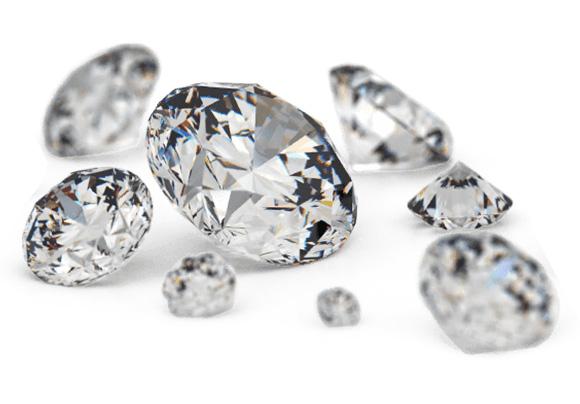 Loose cut diamonds, sparkling brilliantly.