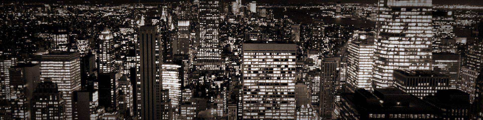 City lights backdrop.