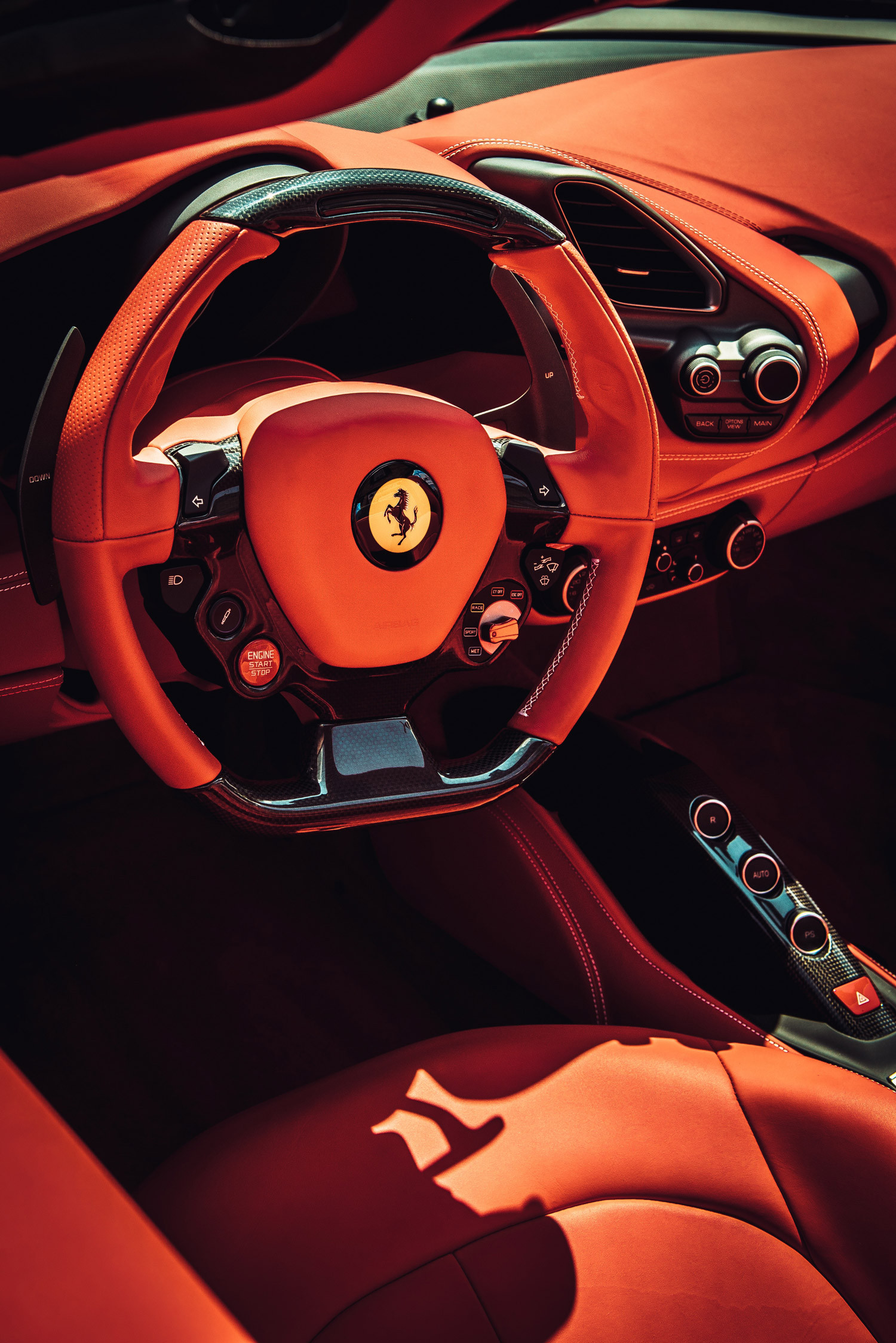 Drivers seat of a ferrari