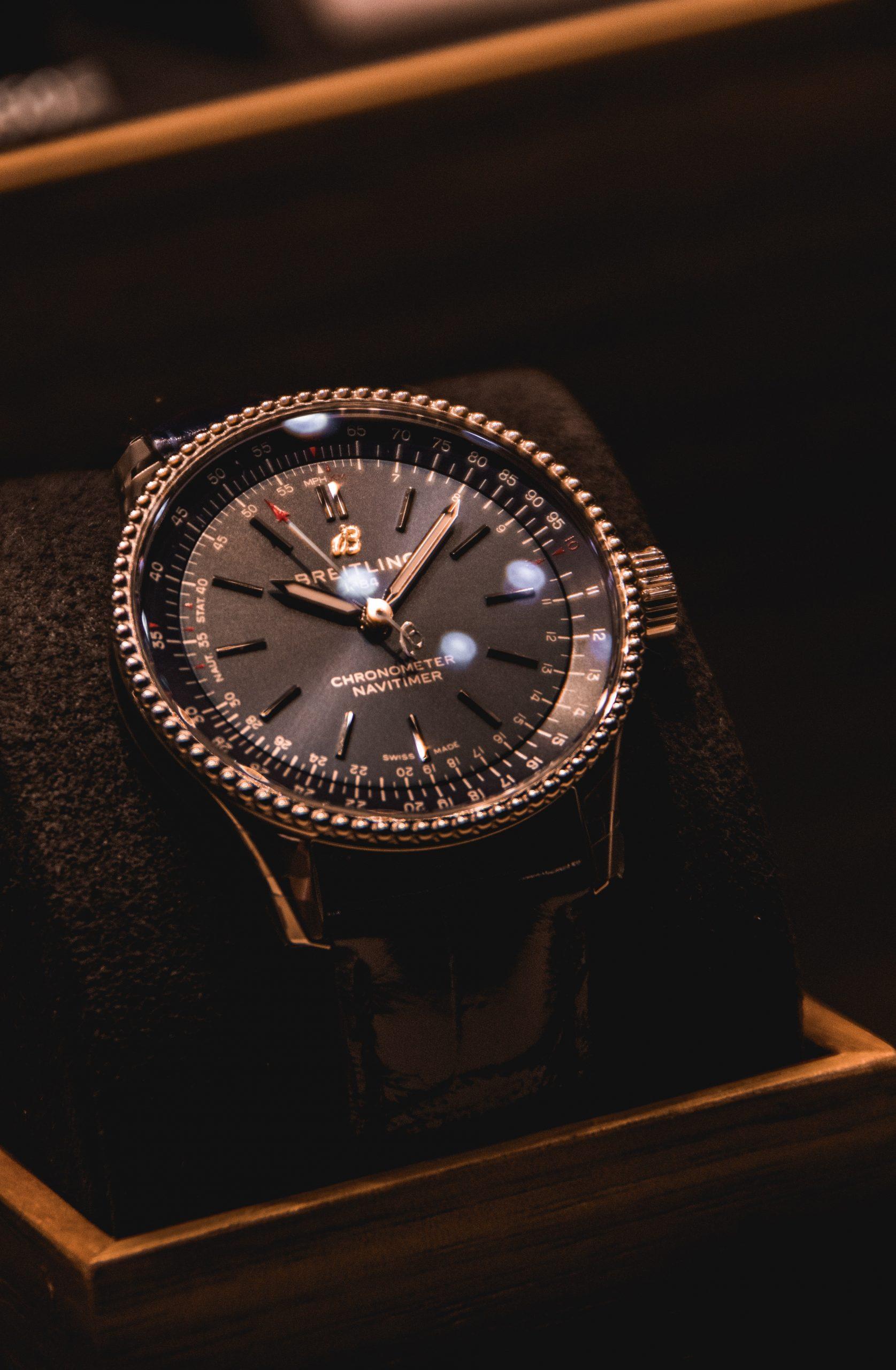 Luxury watch shining in cabinet.